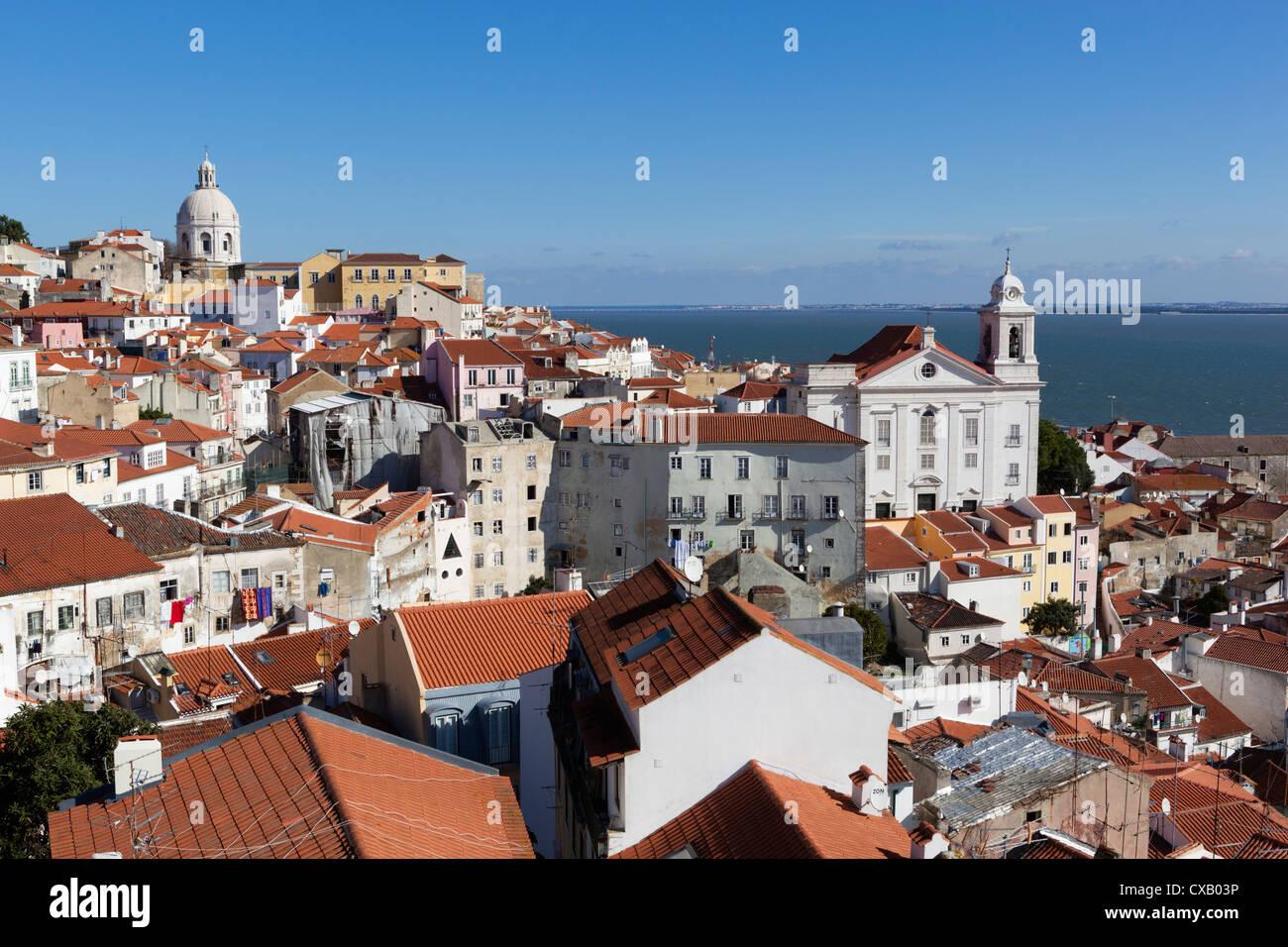 View over Alfama district from Miradouro das Portas do Sol, Alfama, Lisbon, Portugal, Europe - Stock Image