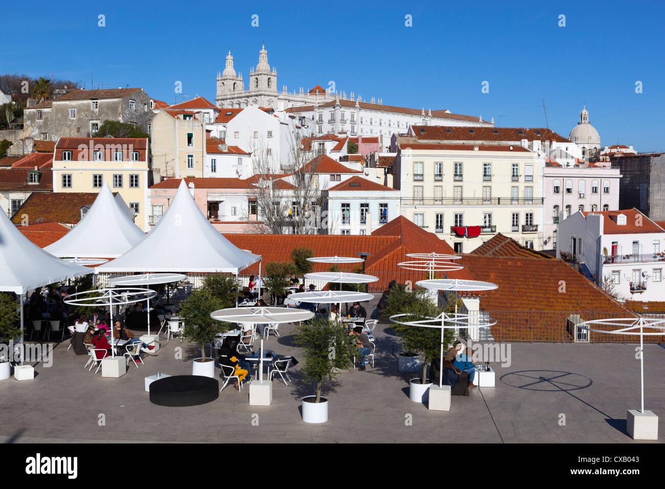 Cafe below Miradouro das Portas do Sol, Alfama, Lisbon, Portugal, Europe - Stock Image