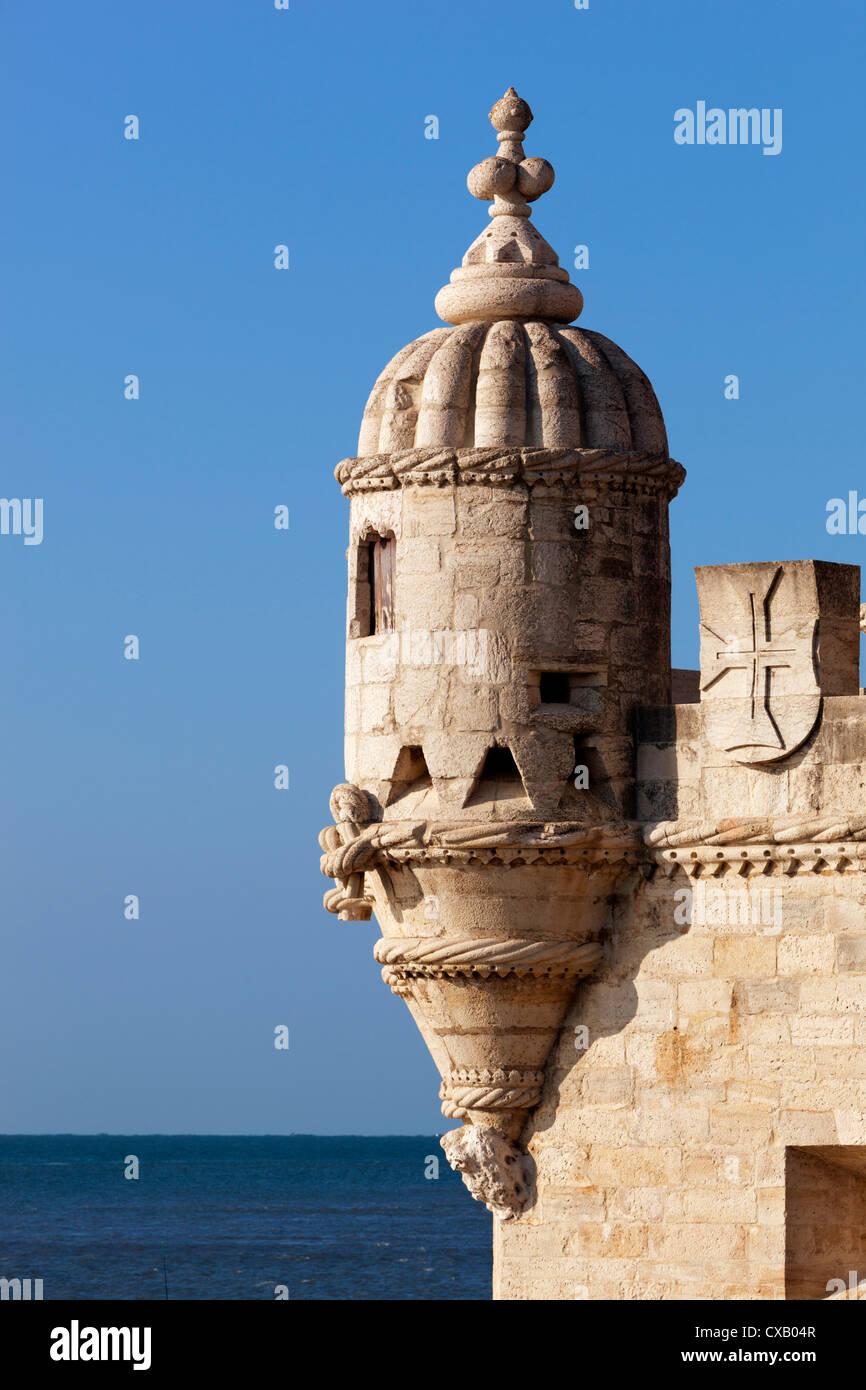 Turret of Torre de Belem, Belem, Lisbon, Portugal, Europe - Stock Image