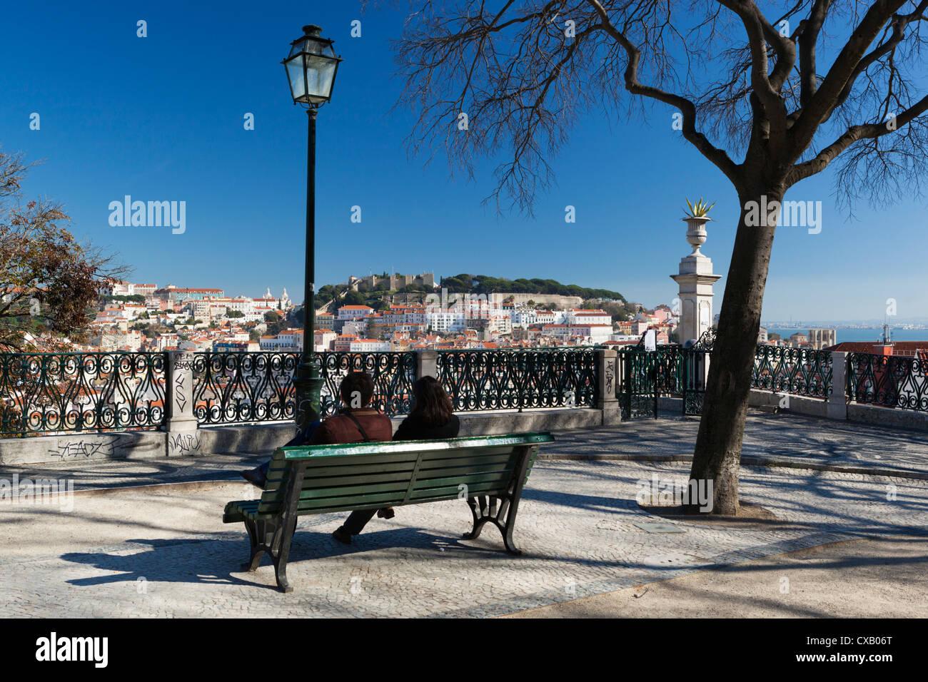 View over city from Miradouro de Sao Pedro de Alcantara, Bairro Alto, Lisbon, Portugal, Europe - Stock Image