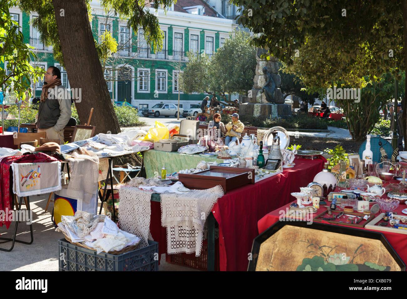 Street market on Praca do Principe Real, Bairro Alto, Lisbon, Portugal, Europe - Stock Image