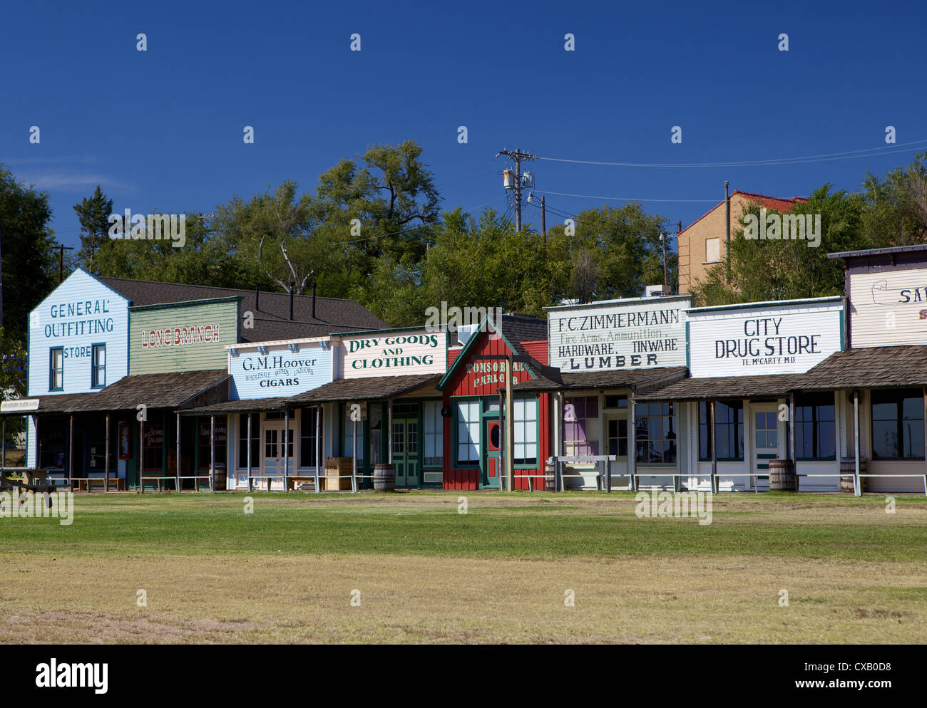 Front Street in Dodge City, frontier town of the Old West, Kansas, United States of America, North America - Stock Image