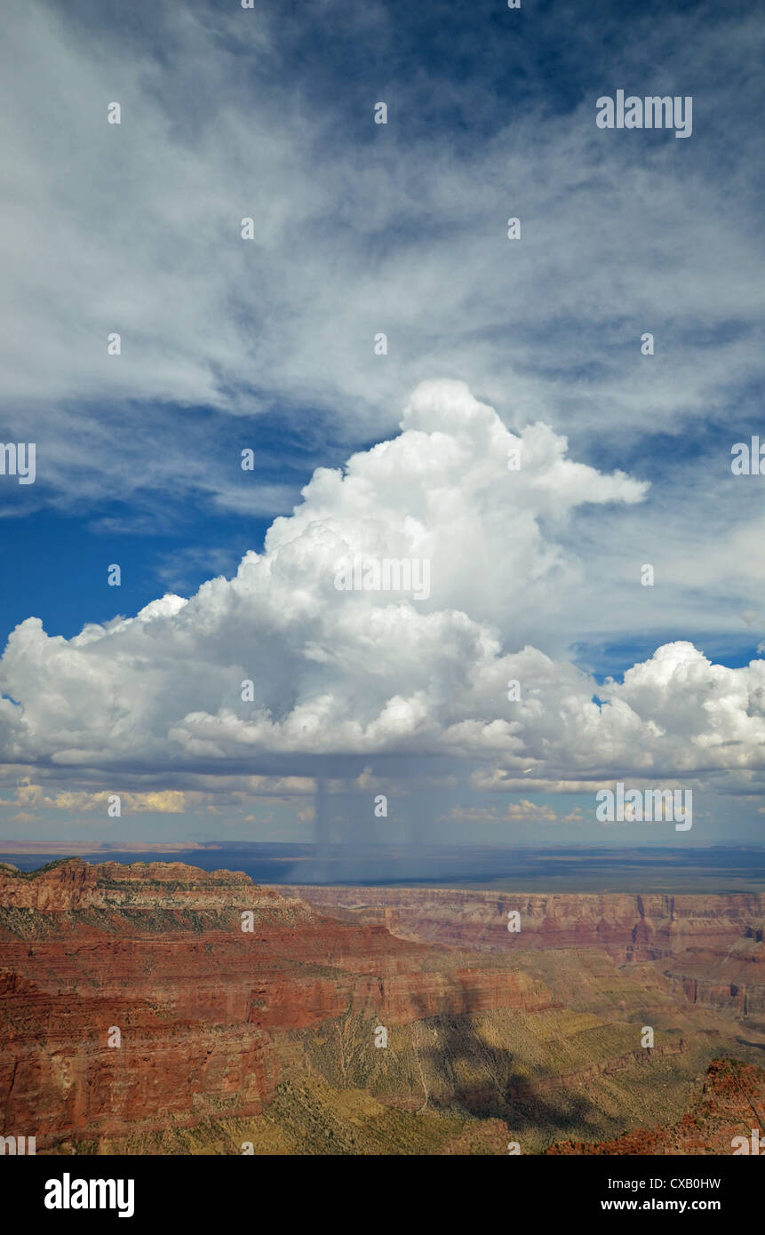 Rain cloud over Grand Canyon from the north rim - Stock Image