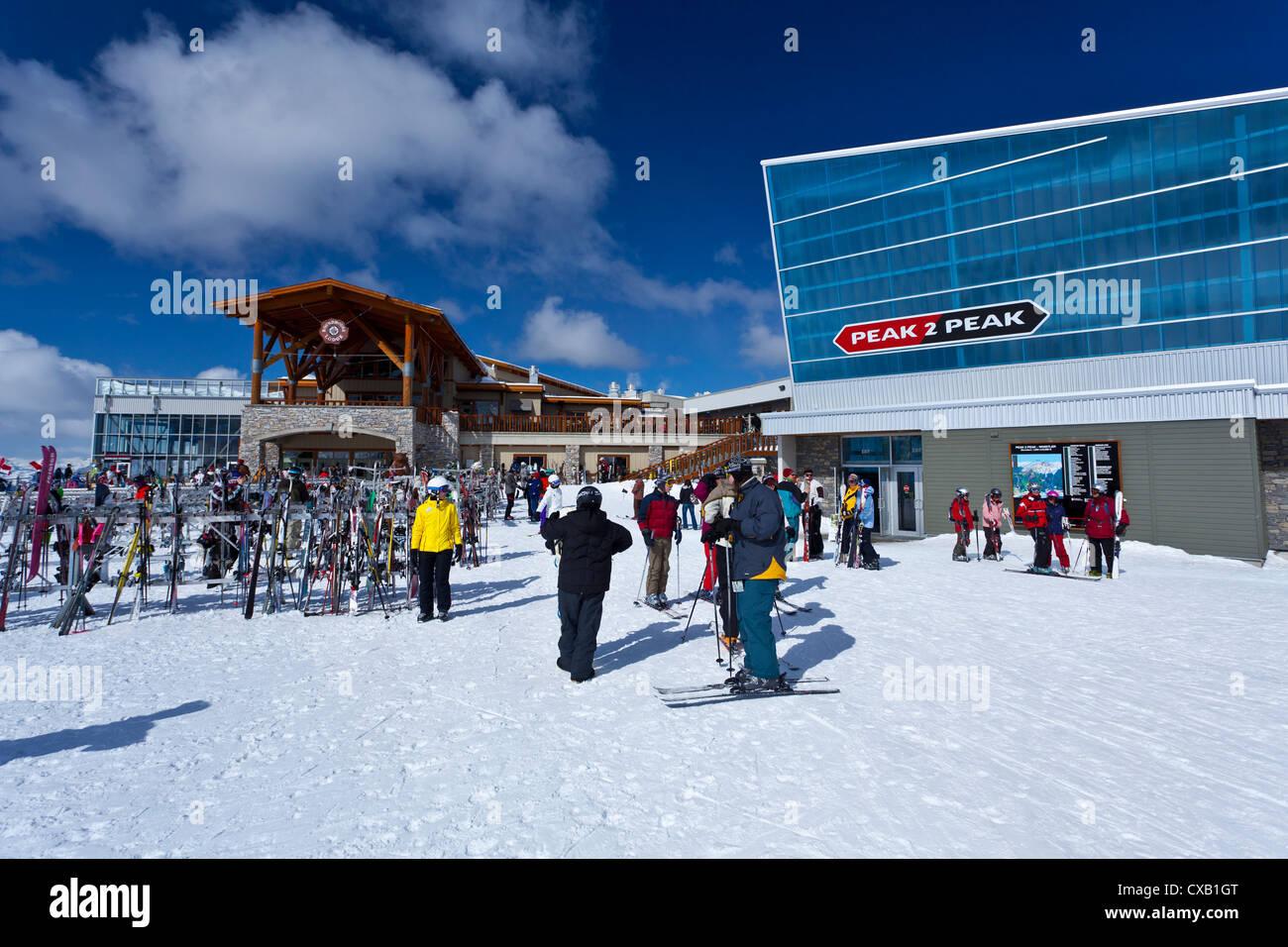 Skiers by the Peak 2 Peak Gondola, Whistler Blackcomb Ski Resort, Whistler, British Columbia, Canada, North America Stock Photo