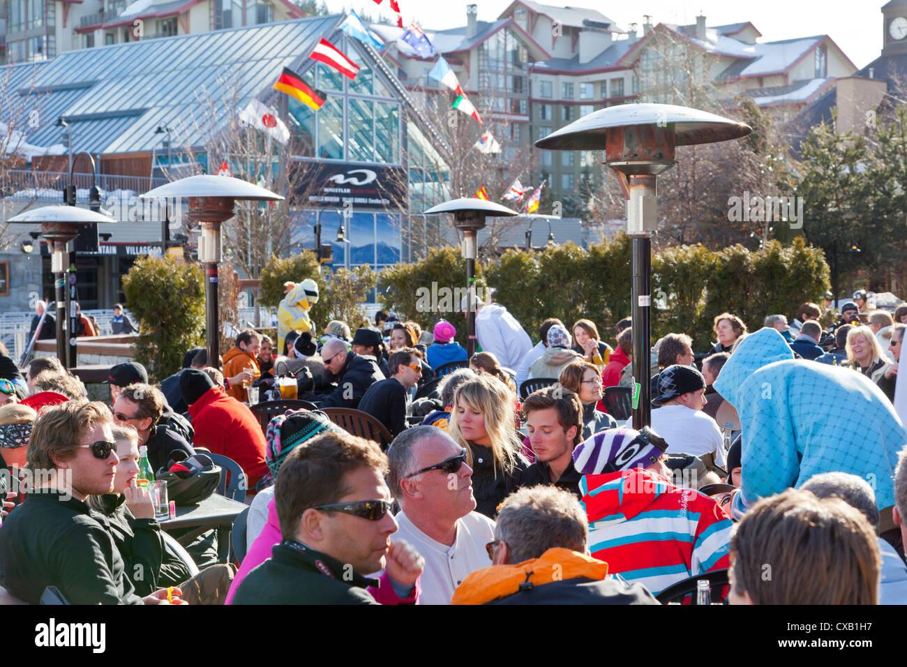 Apres ski, Whistler Village, Whistler Blackcomb Ski Resort, Whistler, British Columbia, Canada, North America Stock Photo