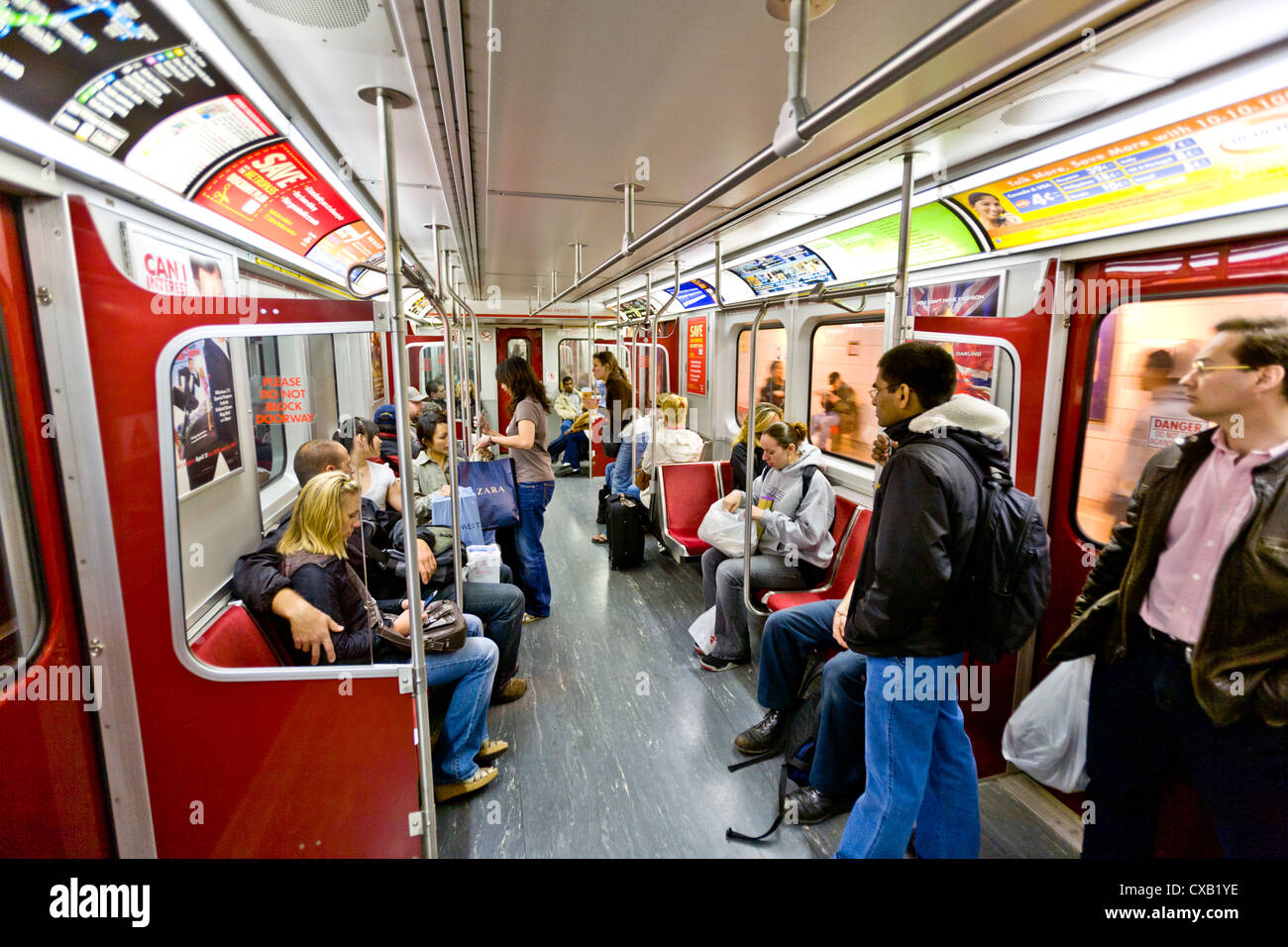 Interior of subway train, Toronto, Ontario, Canada, North America - Stock Image