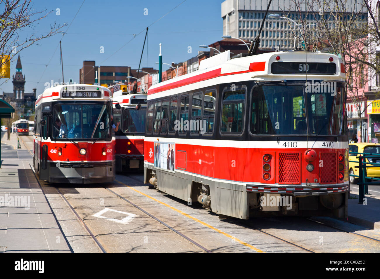 The 510 streetcar is one of eleven remaining streetcar routes in Toronto, Sadina Avenue, Toronto, Ontario, Canada, - Stock Image