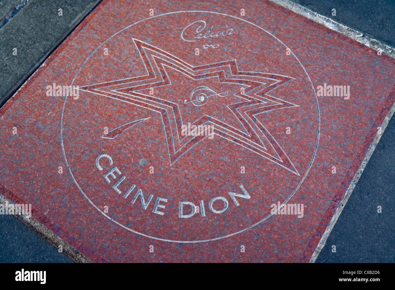 Closeup of Celine Dion's star on the sidewalk, Canada's Walk of Fame, Entertainment District, Toronto, Ontario, - Stock Image
