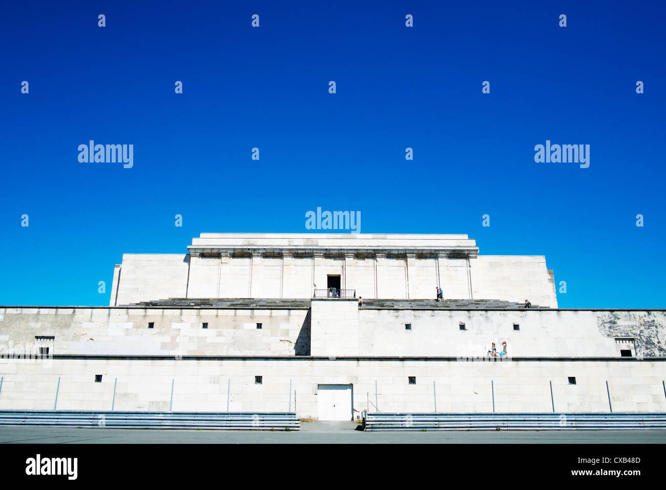 The former grandstand of Nazi party rally gounds at Zeppelinfeld in Nuremberg in Bavaria Germany - Stock Image