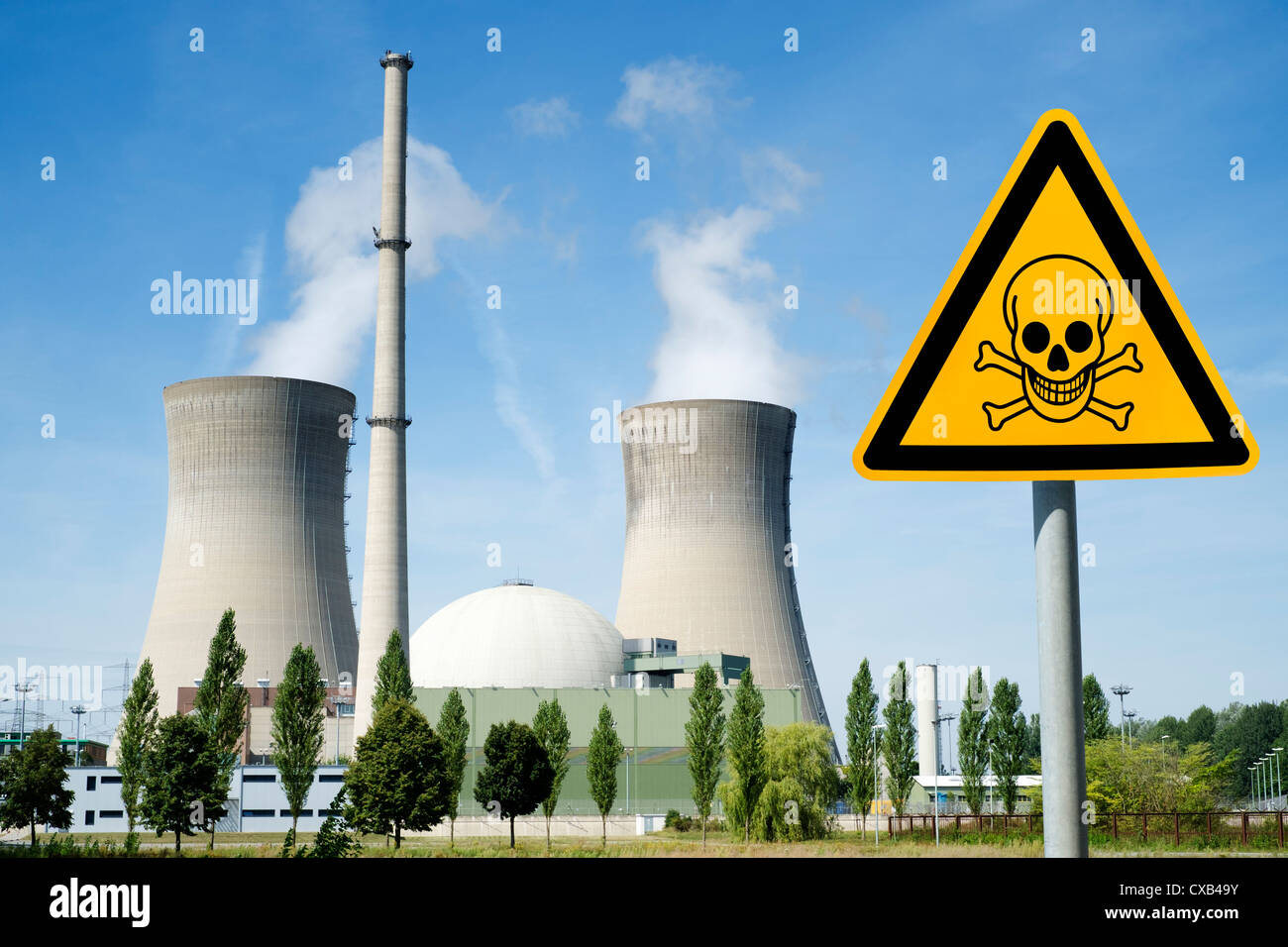 Danger sign with skull at Grafenrheinfeld nuclear power station in Germany Stock Photo