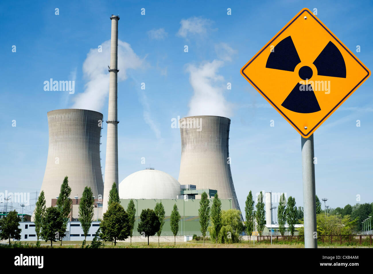 Radiation warning sign near Grafenrheinfeld nuclear power station in Germany - Stock Image