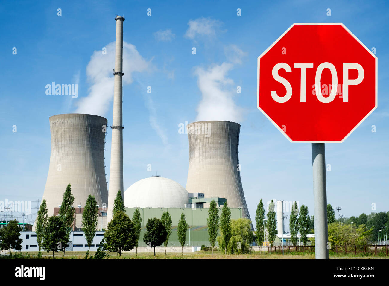 Stop sign at Grafenrheinfeld nuclear power station in Germany - Stock Image