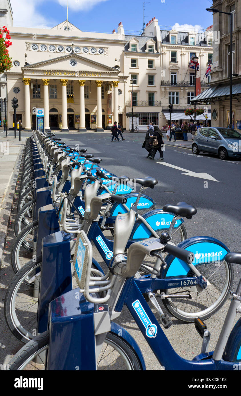 Barclays Boris Bikes for hire in a docking station Central London England UK GB EU Europe - Stock Image