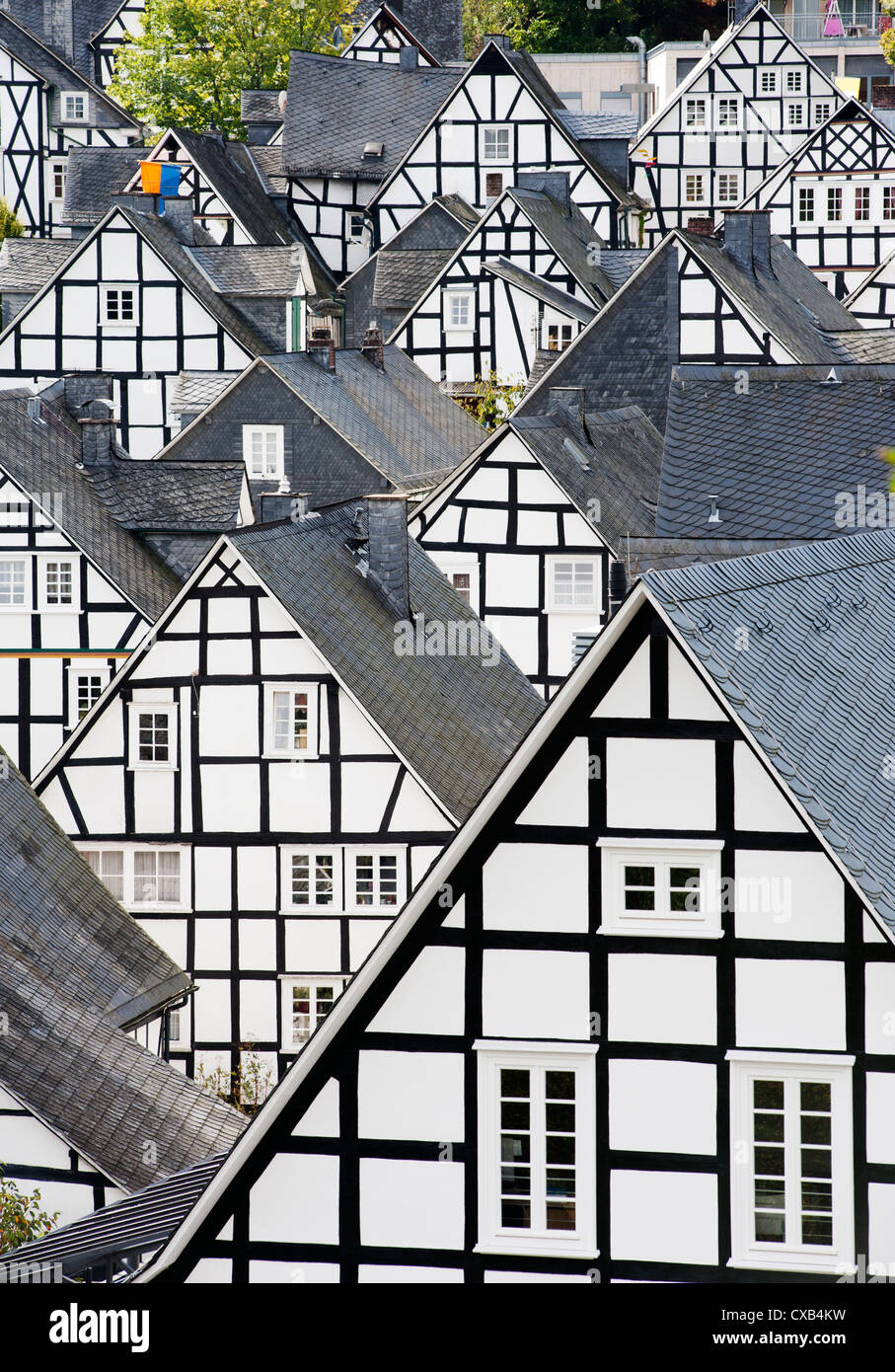 Many half-timbered old houses in Freudenberg village in Siegerland Germany - Stock Image