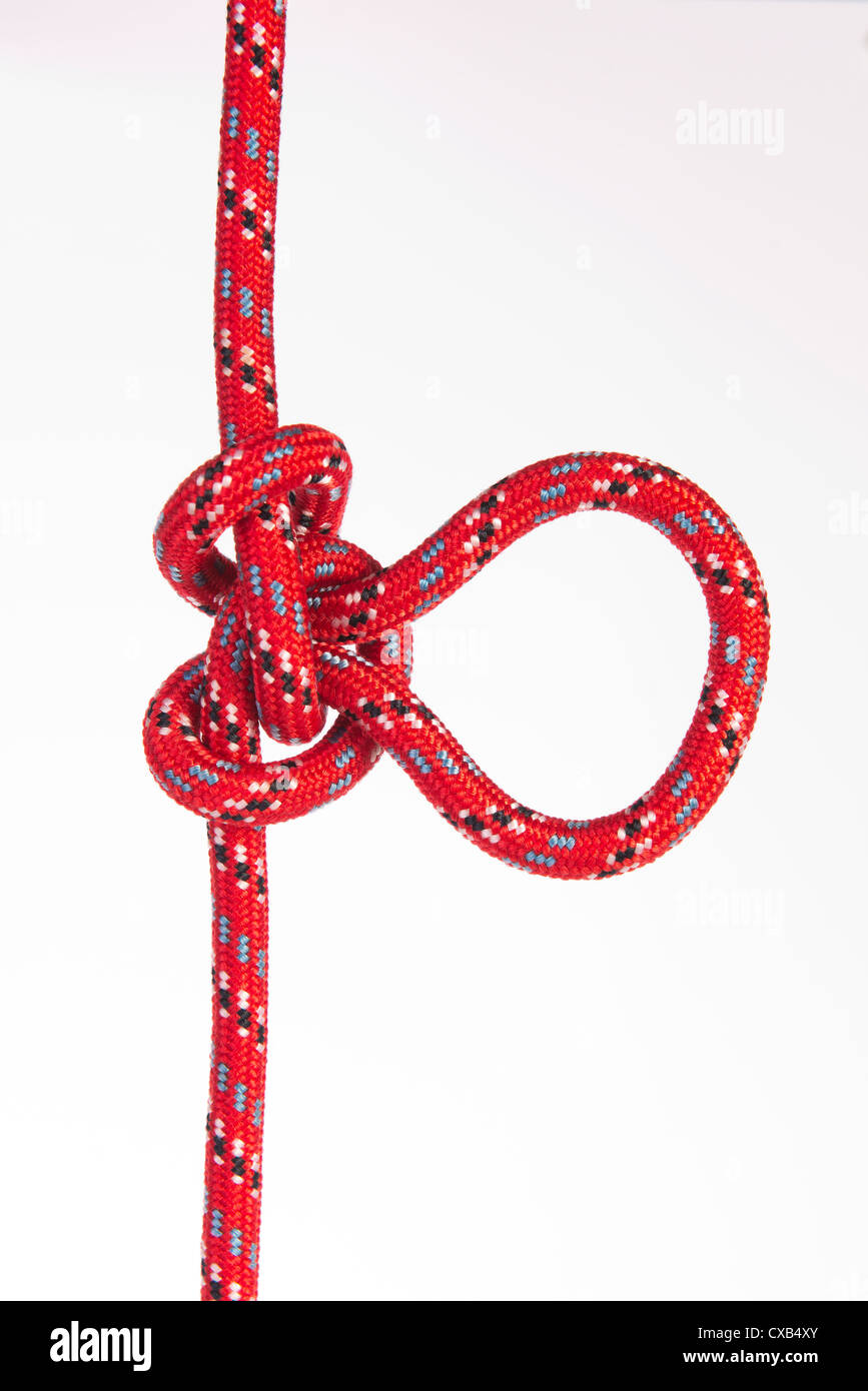 'Alpine Butterfly Loop (Lineman's Loop)'   knot for mountain climbing - Stock Image