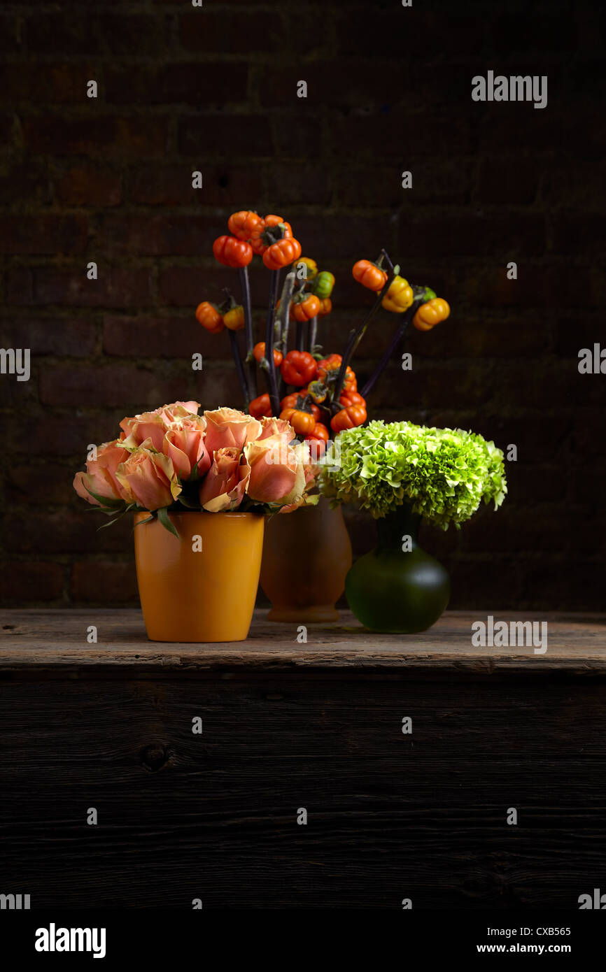 A trio of Tangelic Rose, Hydrangea and Stick Pumpkin Flower Arrangements - Stock Image