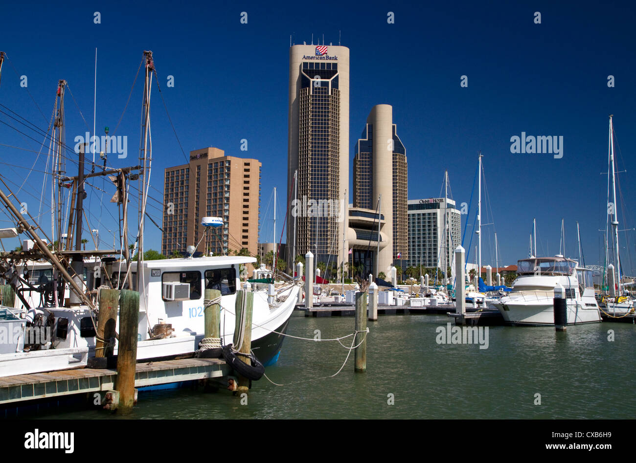 One Shoreline Plaza on the waterfront of Corpus Christi, Texas, USA. - Stock Image