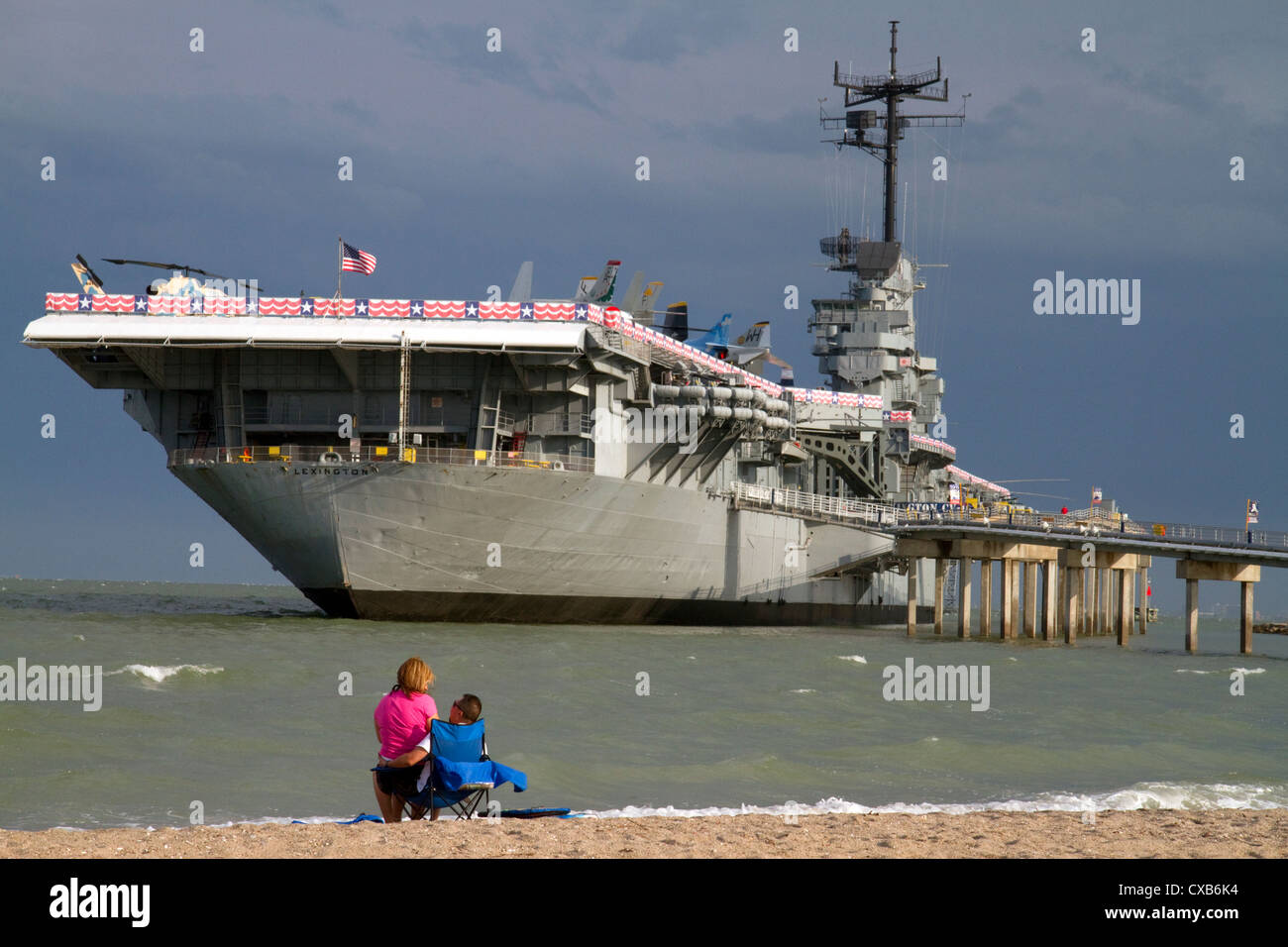 The USS Lexington, Essex-class aircraft carrier is a museum ship located in the bay at Corpus Christi, Texas, USA. - Stock Image