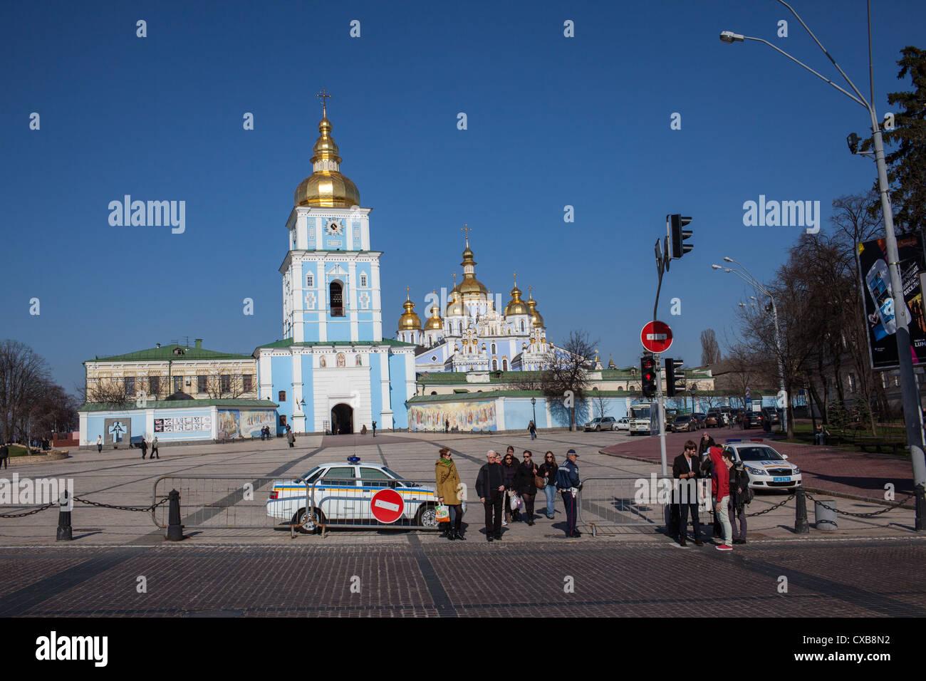 St. Michaels Gold Domed Monastery in Kiev, Ukraine, Eastern Europe. - Stock Image