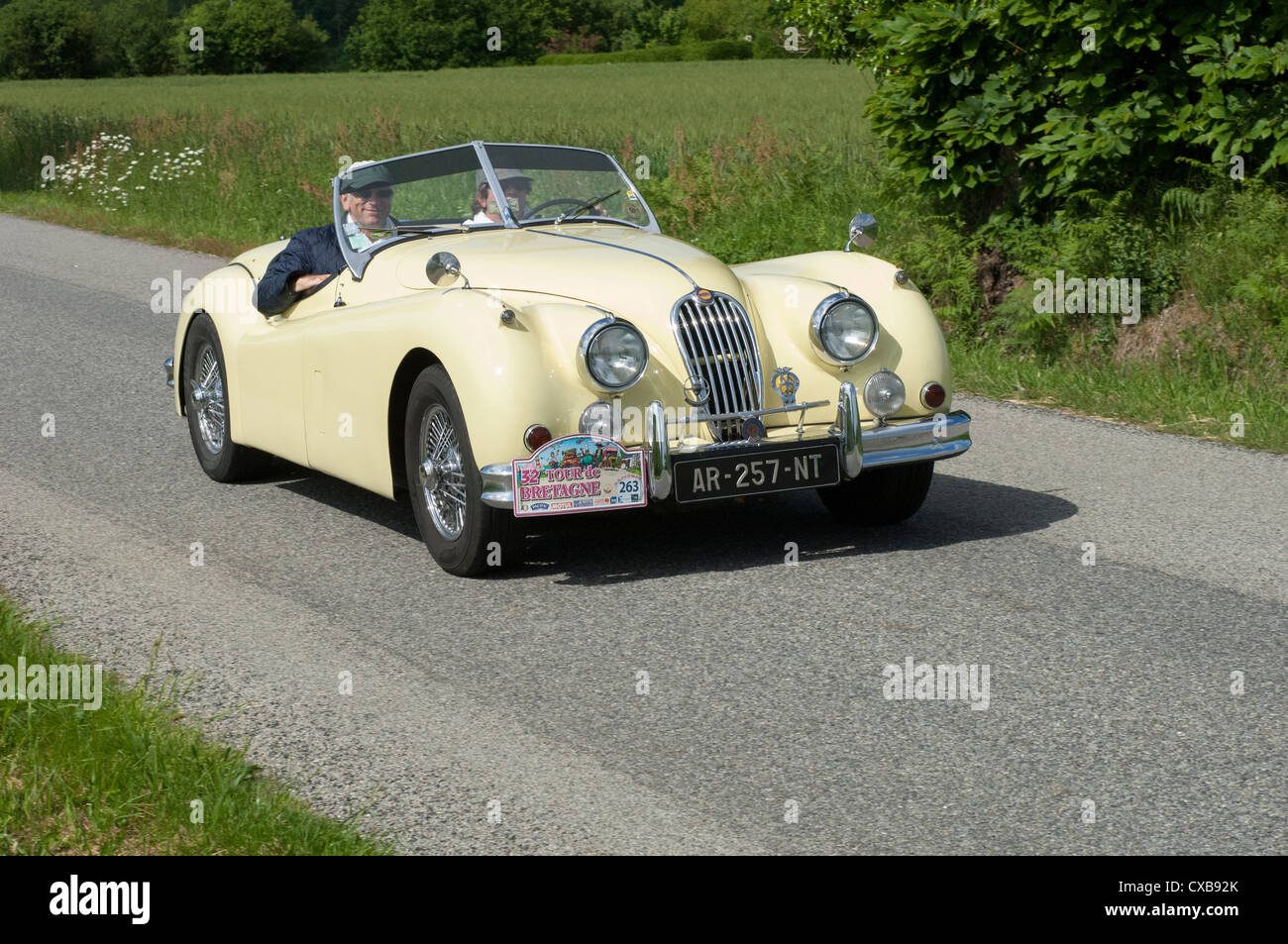 Jaguar XK140 Roadster Of 1956 In The Tour De Bretagne, France, 2012   Stock