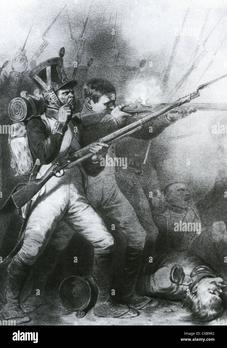 NAPOLEONIC WARS French infantry in Saxony in 1813 with nearest soldier biting off the end of a cartridge to load - Stock Image