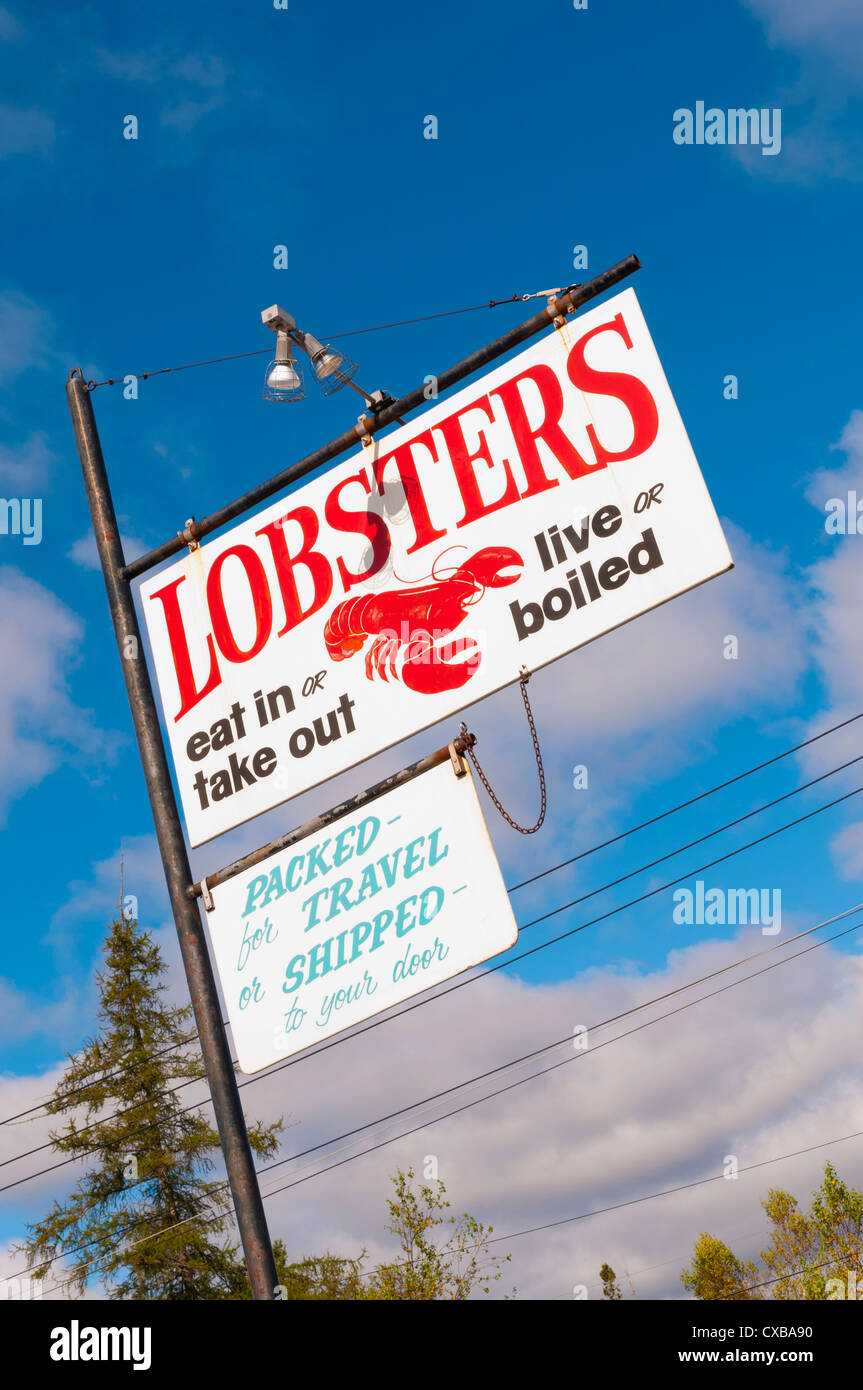 Sea food for sale signs, Mount Desert Island, Maine, New England, United States of America, North America - Stock Image
