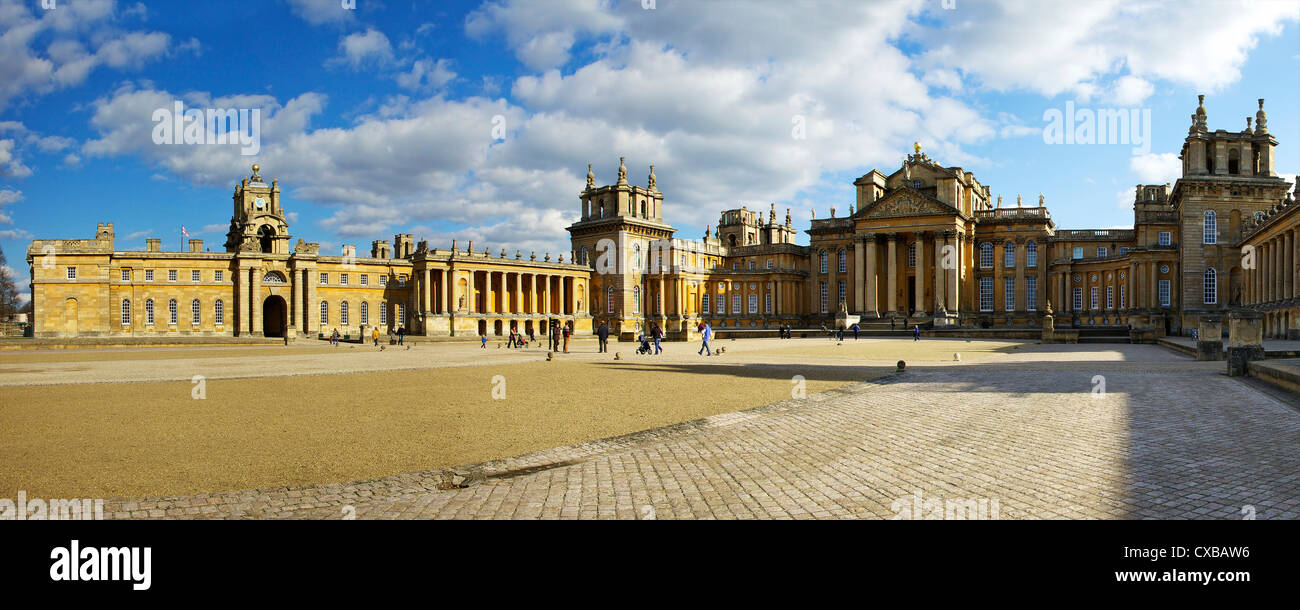 Panoramic of the Great Court of Blenheim Palace, UNESCO World Heritage Site, Woodstock, Oxfordshire, England, United - Stock Image