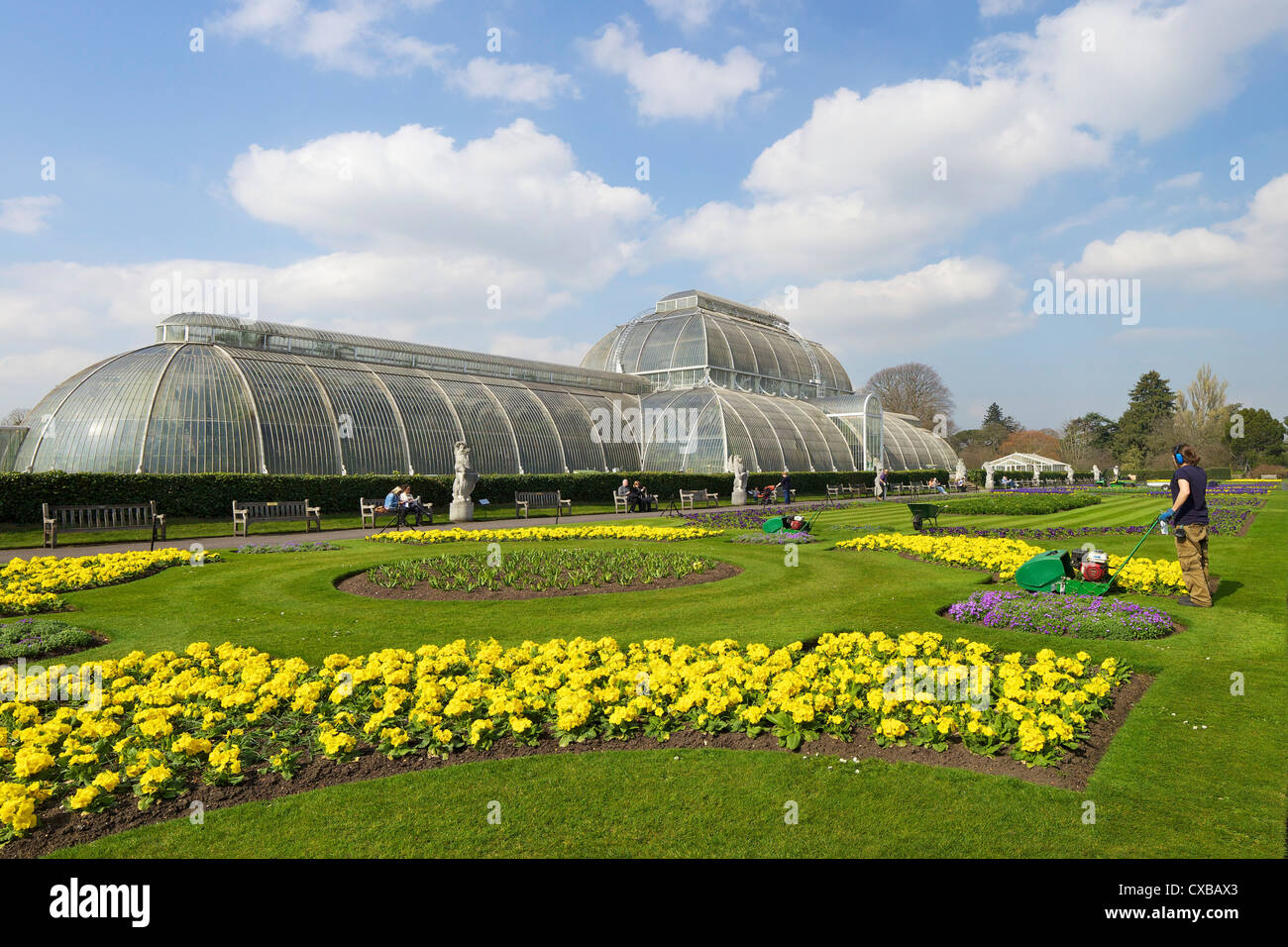 Palm House in spring, Royal Botanic Gardens, Kew, UNESCO World Heritage Site, London, England, United Kingdom, Europe - Stock Image