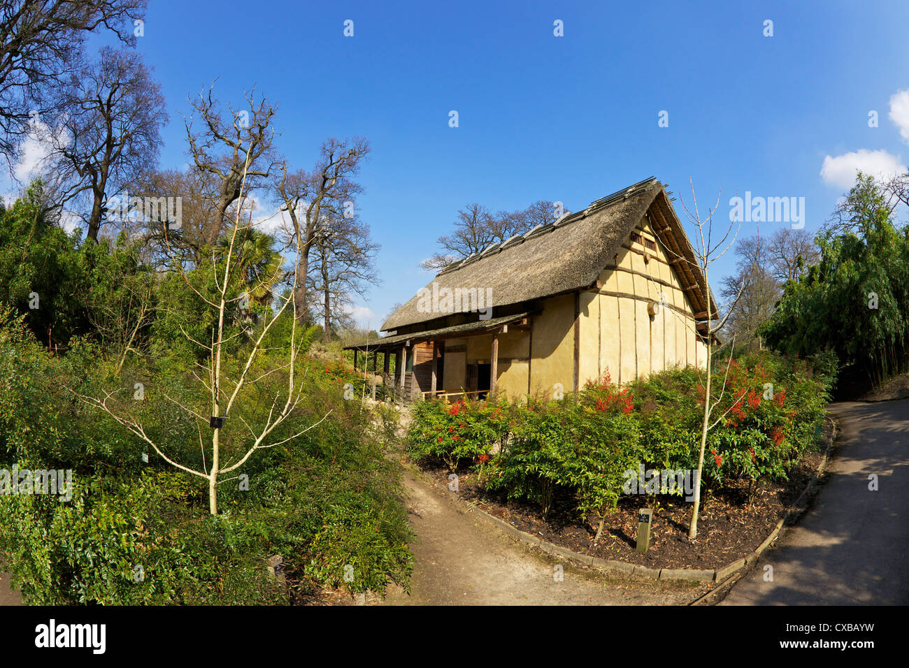 Japanese Minka House, Royal Botanic Gardens, Kew, UNESCO World Heritage Site, London, England, United Kingdom, Europe - Stock Image