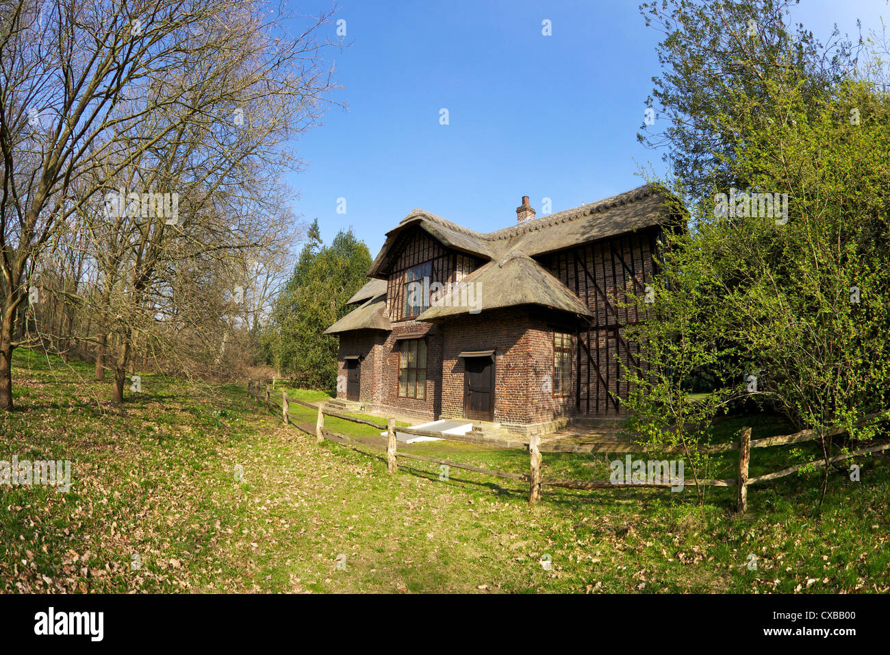 Queen Charlottes Cottage, Royal Botanic Gardens, Kew, UNESCO World Heritage Site, London, England, United Kingdom, - Stock Image