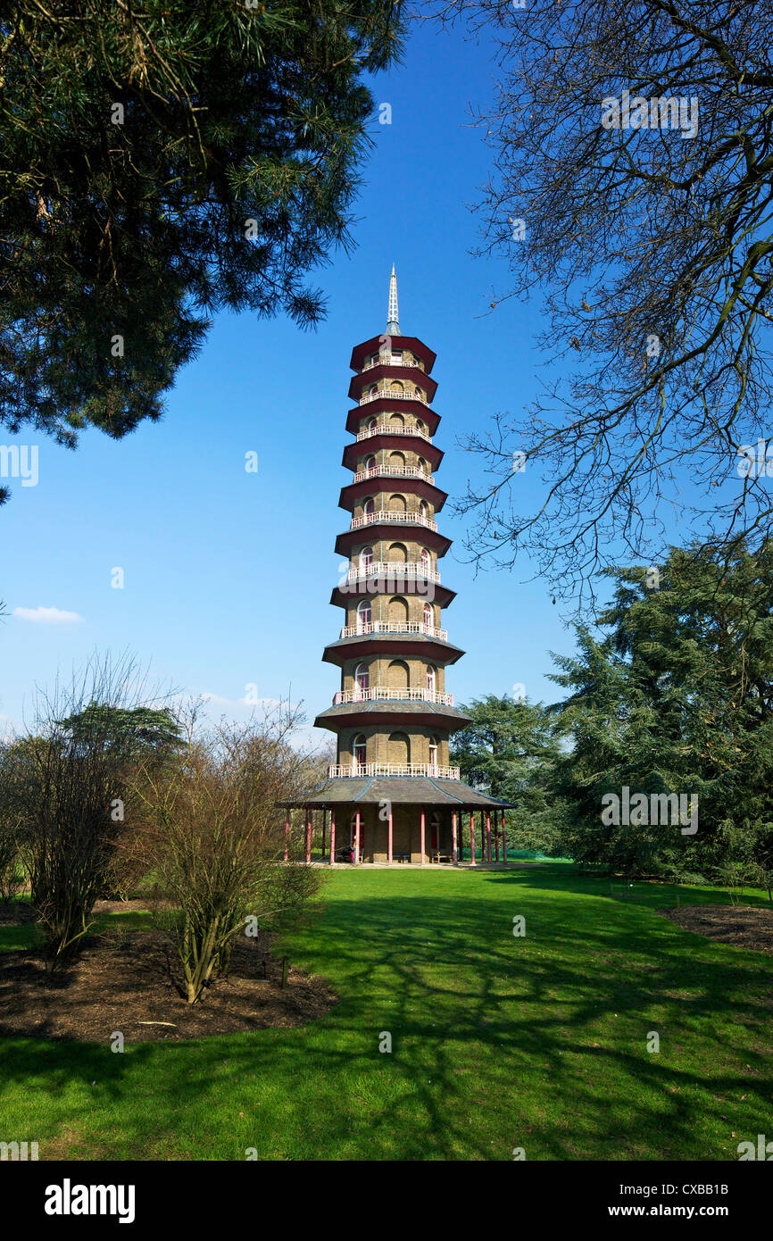 Japanese Pagoda, Royal Botanic Gardens, Kew, UNESCO World Heritage Site, London, England, United Kingdom, Europe - Stock Image