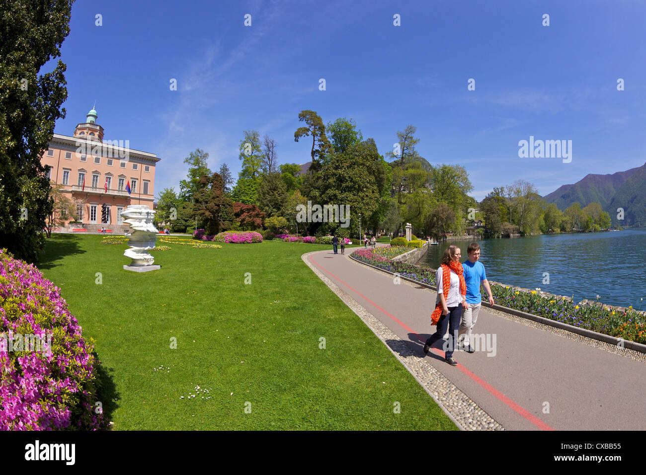 View of Villa Ciani from Parco Civico, Lugano, Lake Lugano, Ticino, Switzerland, Europe - Stock Image