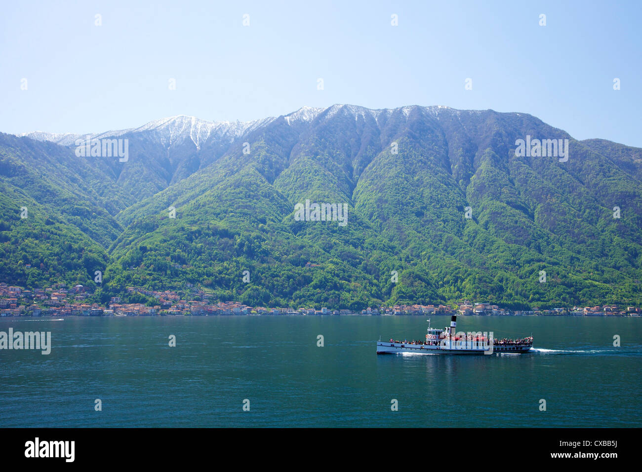 Steamer ferry boat Milano on Lake Como in spring sunshine, Italian Lakes, Northern Italy, Europe - Stock Image