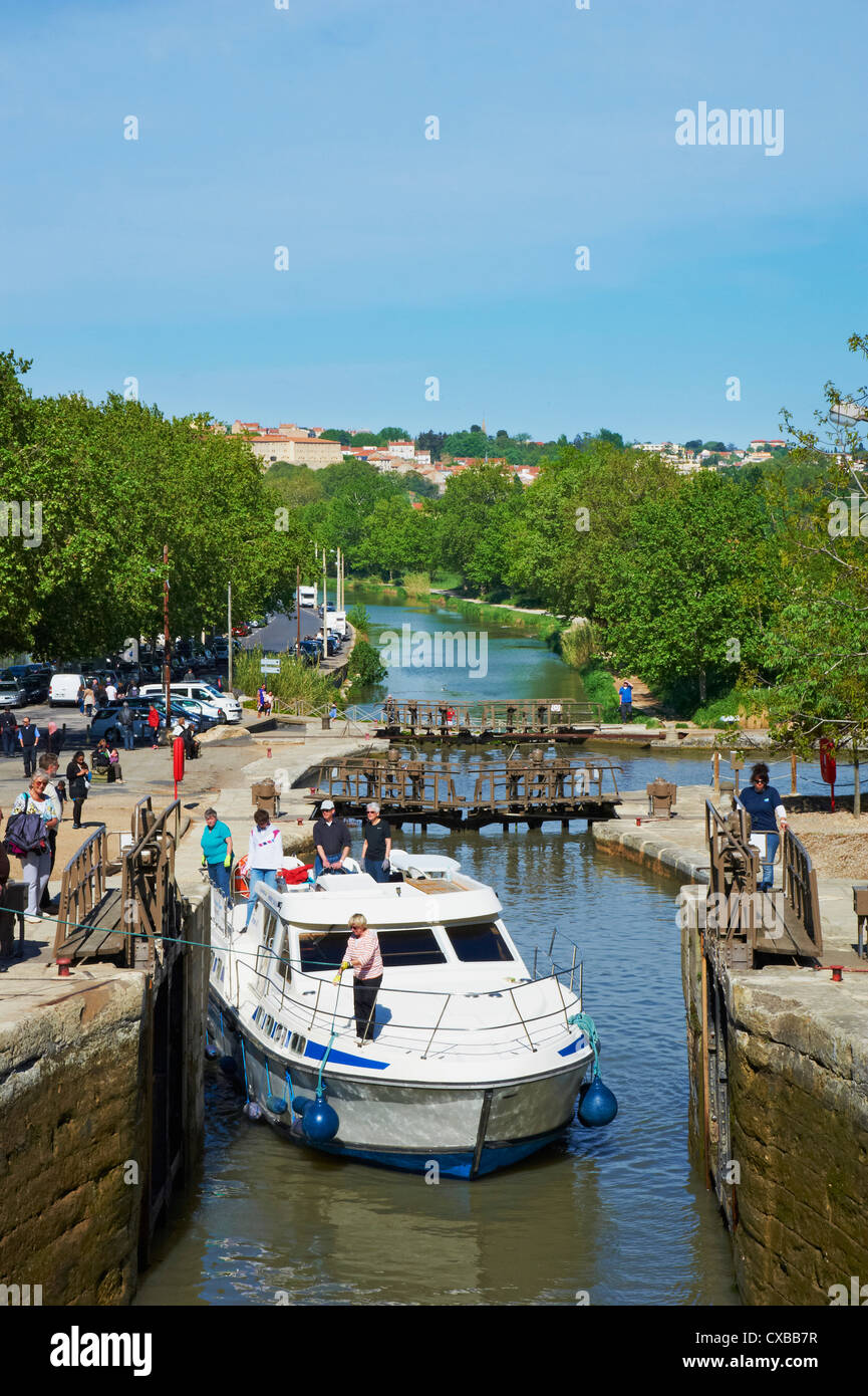 The locks of Fonserannes, Canal du Midi, UNESCO World Heritage Site, Beziers, Herault, Languedoc, France, Europe - Stock Image