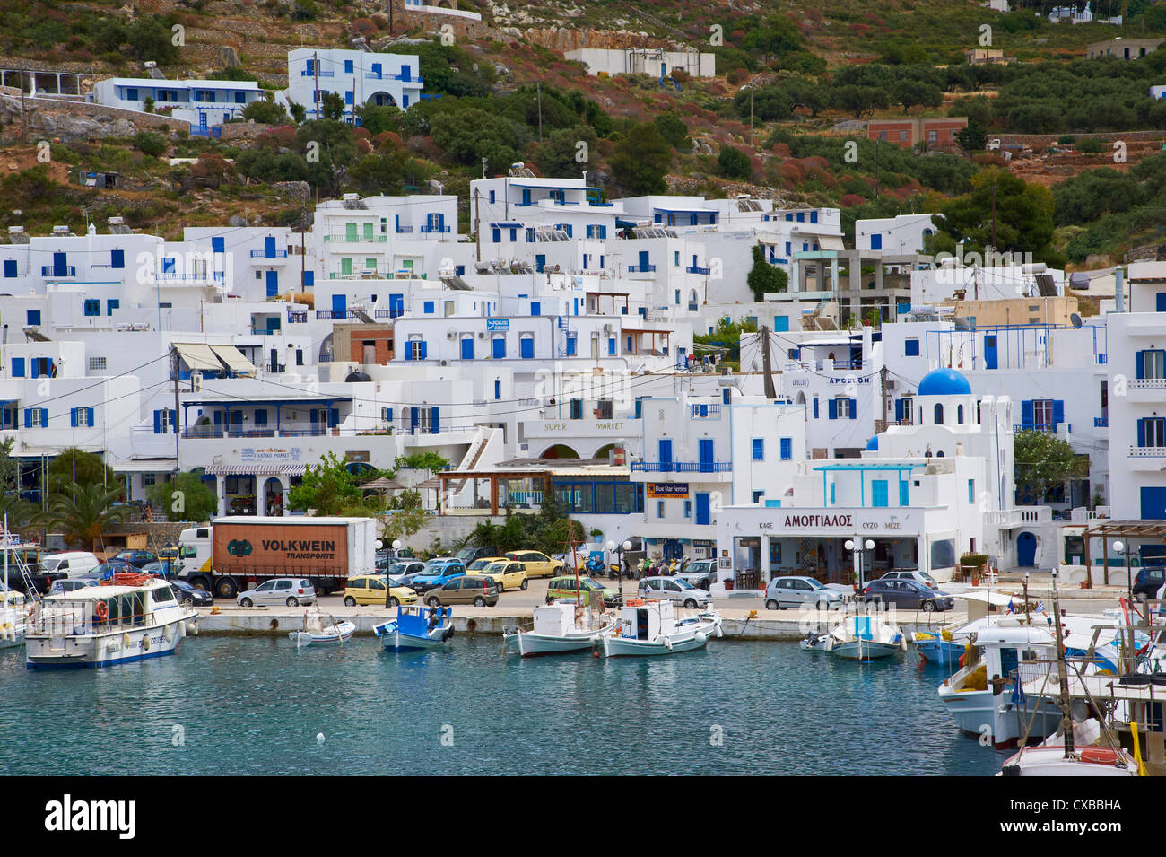 Aigiali town and harbour, Amorgos, Cyclades, Aegean, Greek Islands, Greece, Europe - Stock Image