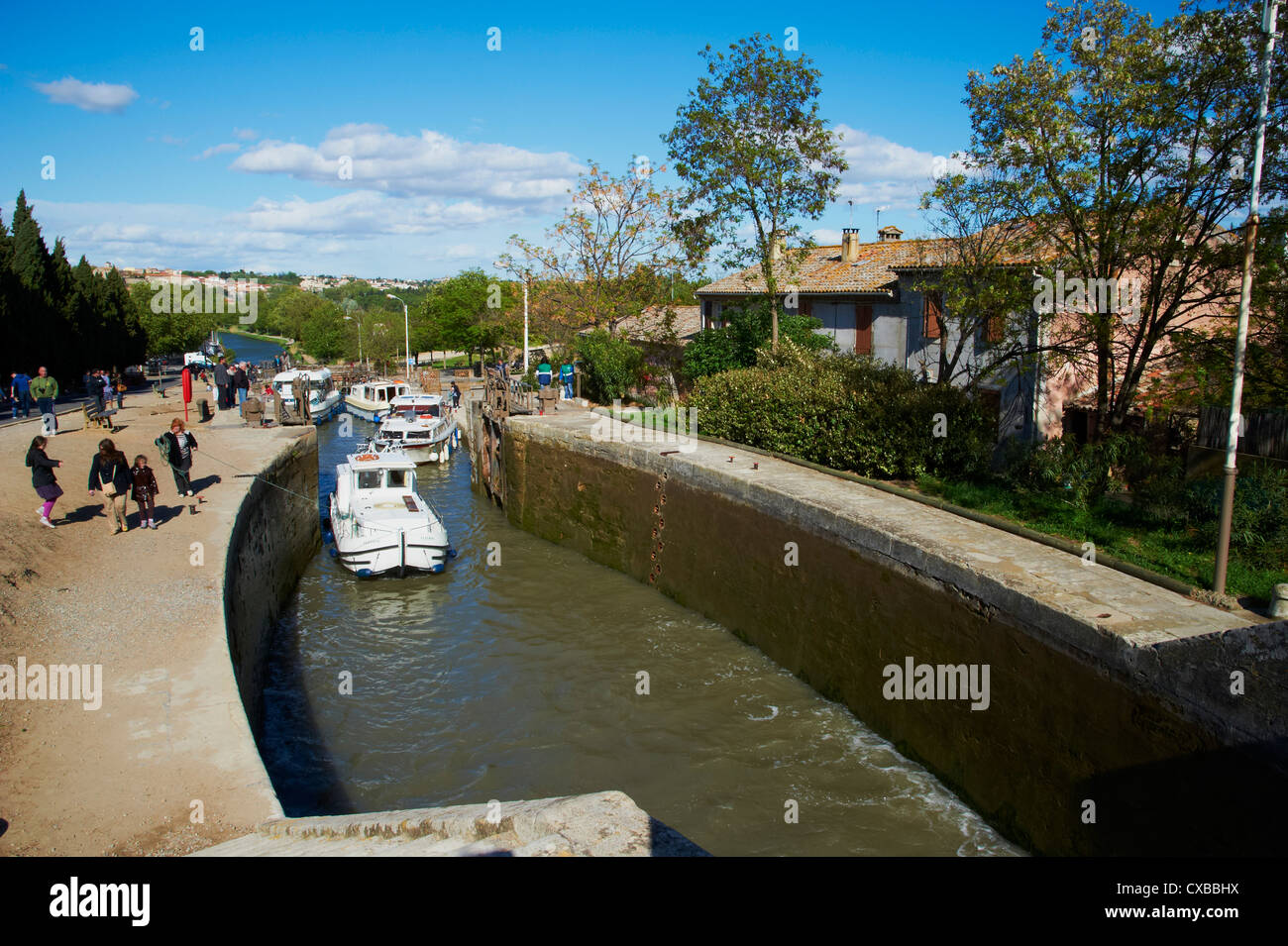 Locks of Fonserannes, Canal du Midi, UNESCO World Heritage Site, Beziers, Herault, Languedoc, France, Europe - Stock Image