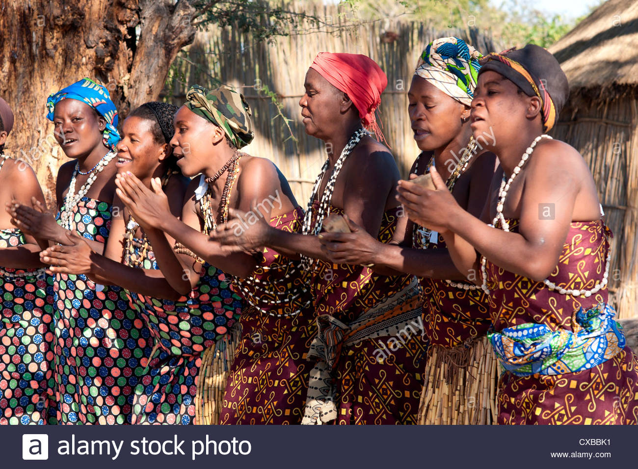 Villagers dancing in motion, Kxoe village, Kwando river area, Caprivi Strip, eastern Namibia, Africa - Stock Image