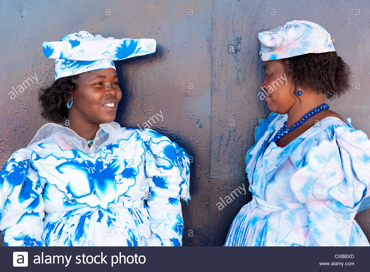 Herero women, Purros village, Kaokoland wilderness region, Namibia, Africa - Stock Image
