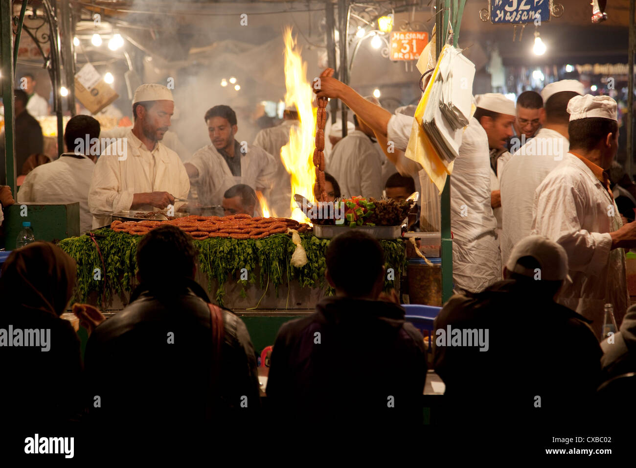 Market food stall, Place Jemaa El Fna, Marrakesh, Morocco, North Africa, Africa - Stock Image