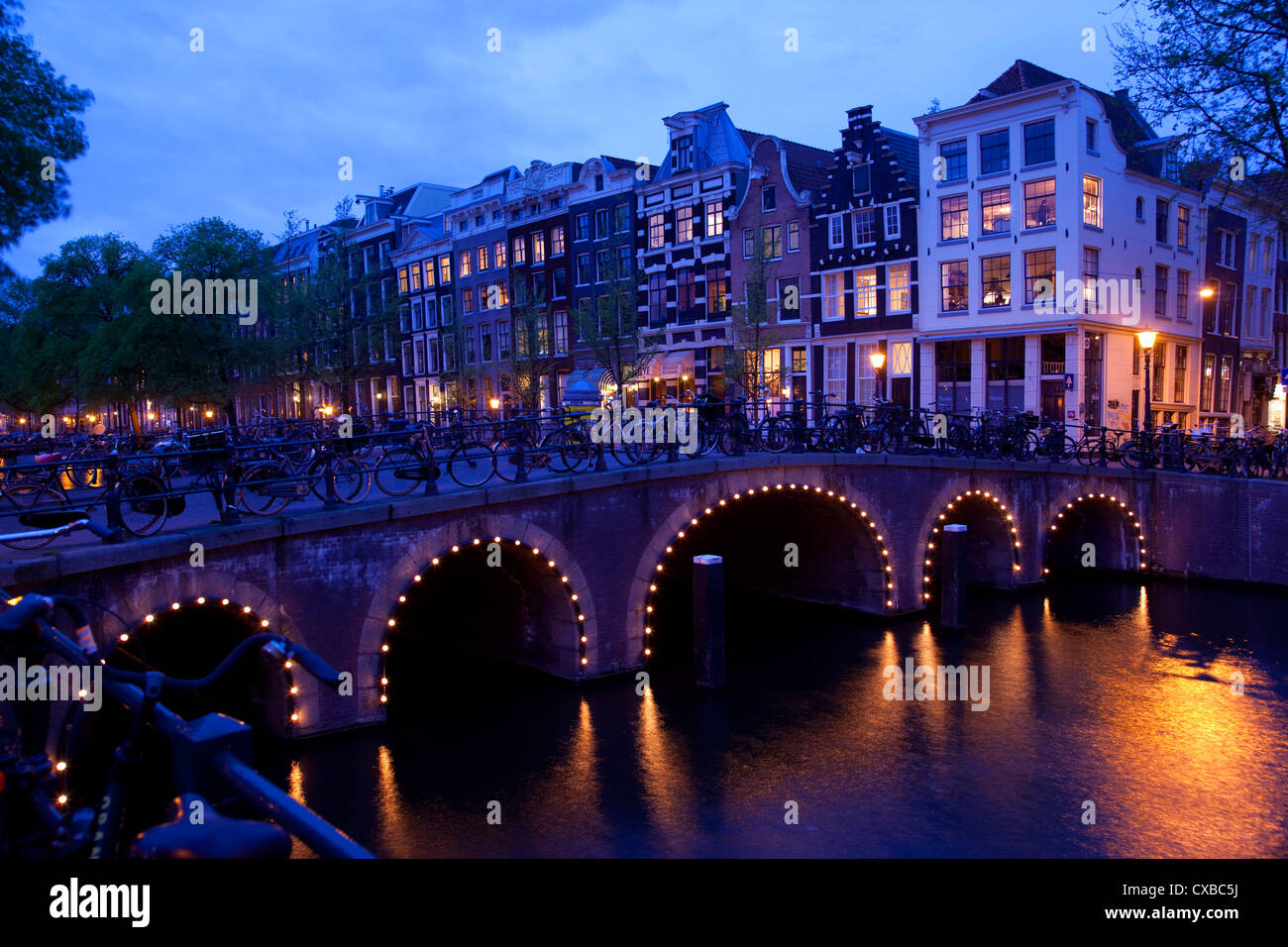 Canal and Bridge, Amsterdam, Holland, Europe - Stock Image