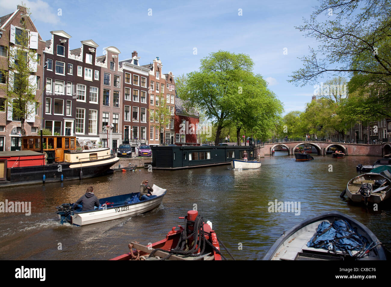Canal and boats, Amsterdam, Holland, Europe - Stock Image