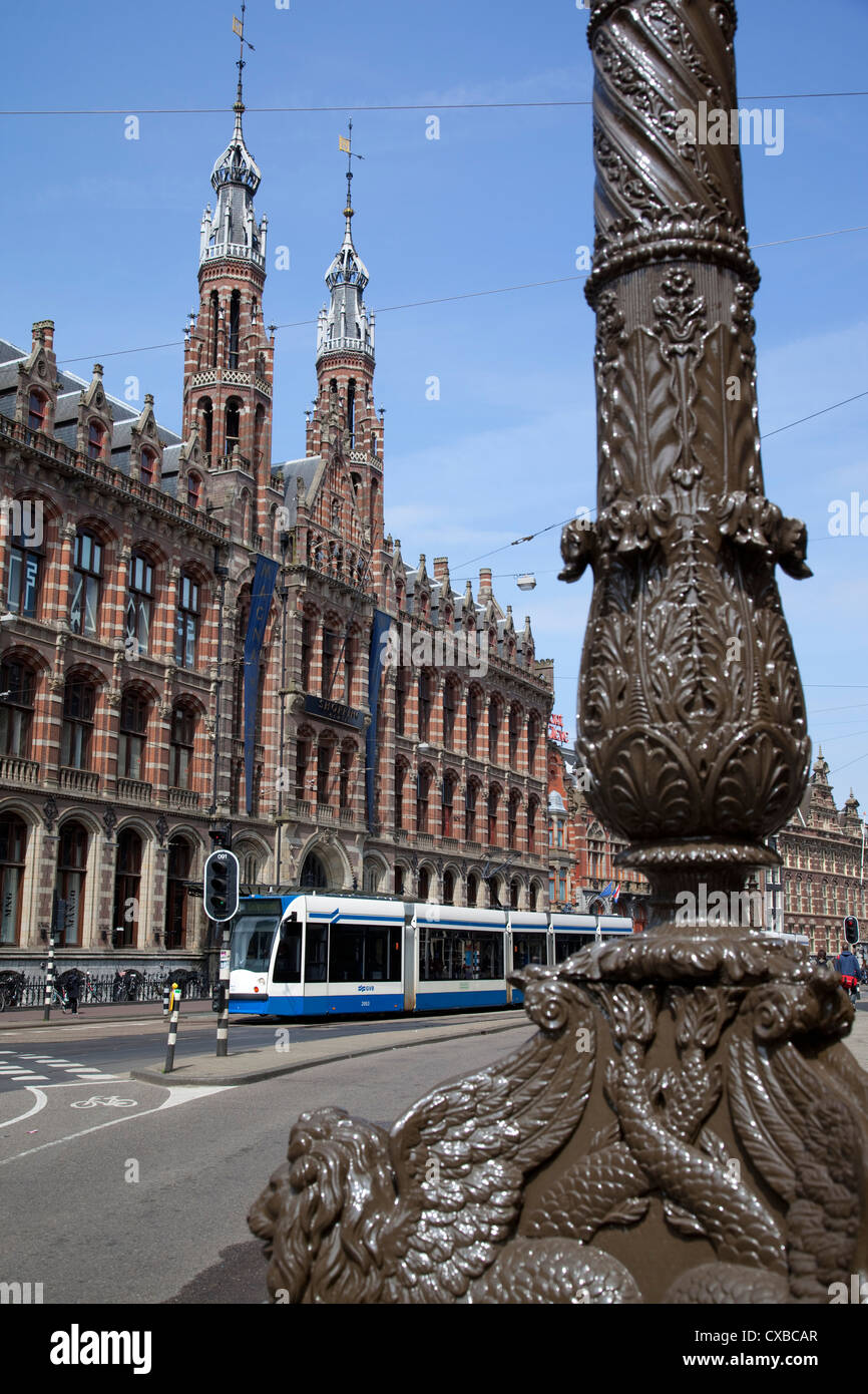 Magna Plaza and ornate lamp post, Amsterdam, Holland, Europe - Stock Image