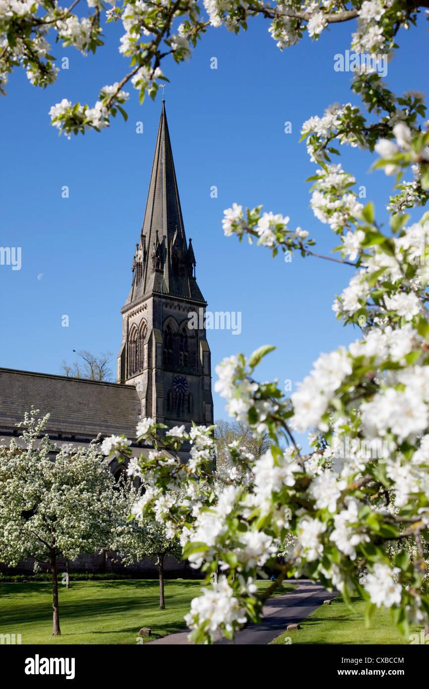 Edensor Parish Church, Chatsworth Estate, Derbyshire, England, United Kingdom, Europe - Stock Image