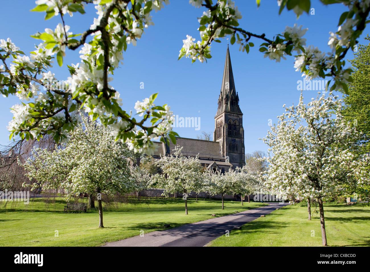 Edensor Village, Chatsworth Estate, Derbyshire, England, United Kingdom, Europe - Stock Image