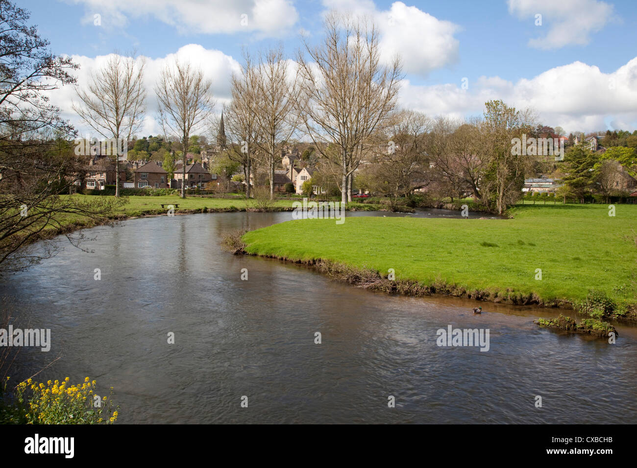 Wye River and town, Bakewell, Derbyshire, England, United Kingdom, Europe - Stock Image