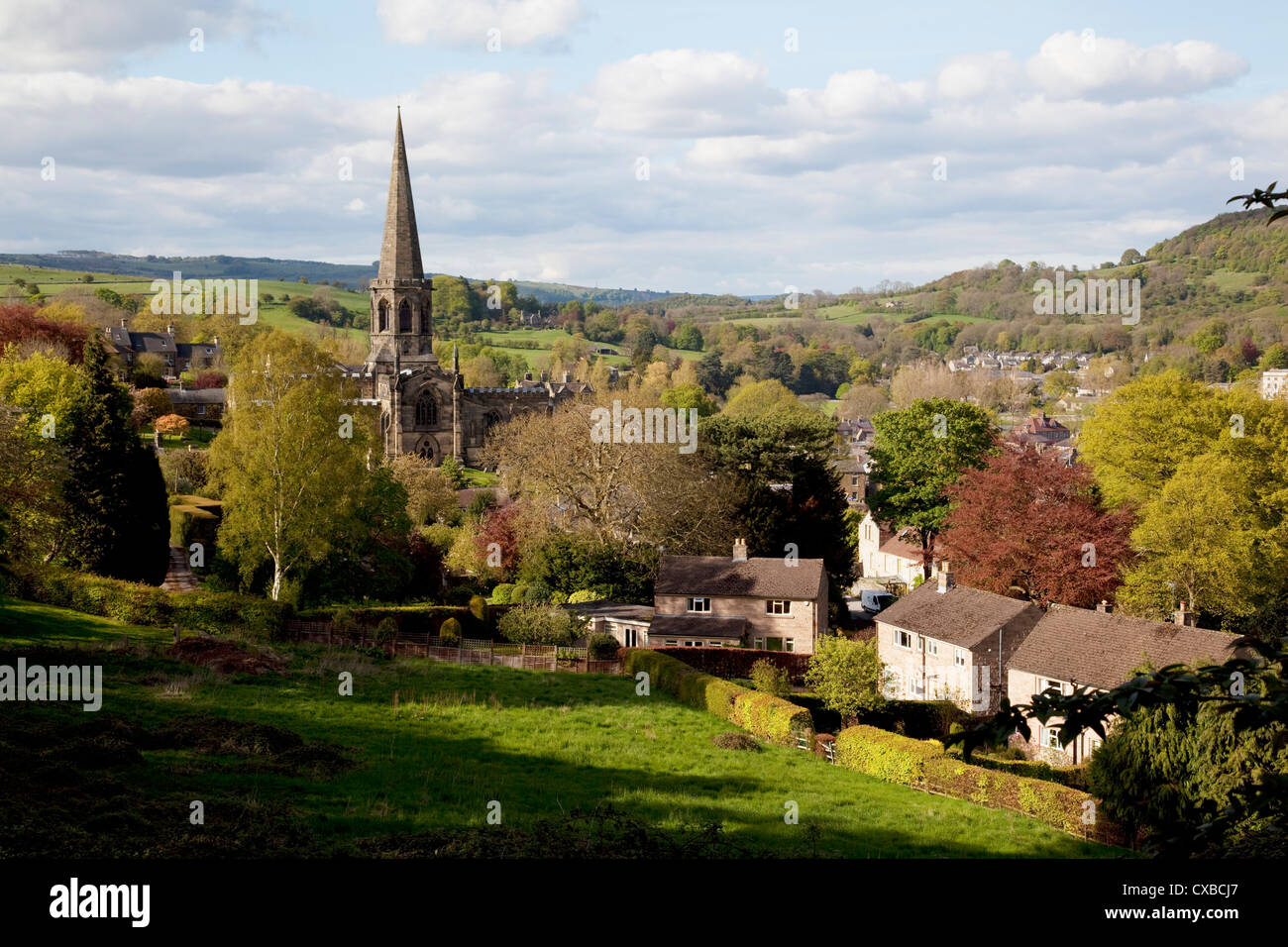 View of Parish Church and town, Bakewell, Derbyshire, England, United Kingdom, Europe - Stock Image