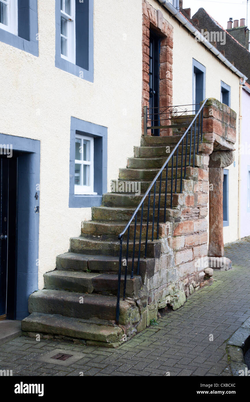 Cottage with external staircase, St. Monans, Fife, Scotland, United Kingdom, Europe - Stock Image