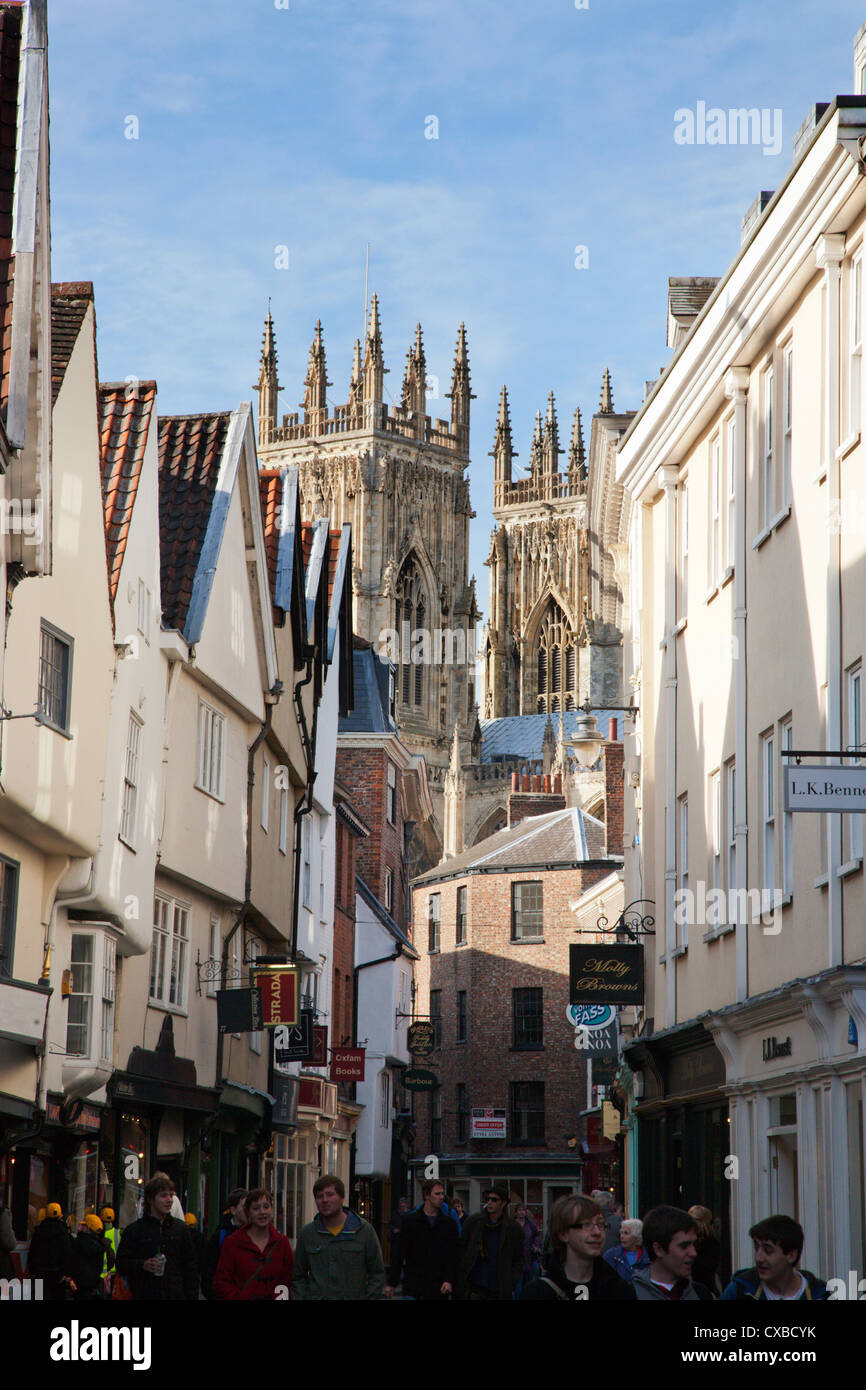 Towers of the Minster from Petergate, York, Yorkshire, England, United Kingdom, Europe - Stock Image