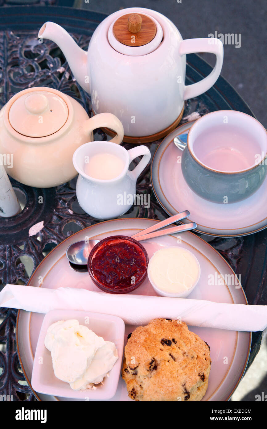 Cream tea at the Castle by the Sea Tearoom, Scarborough, North Yorkshire, Yorkshire, England, United Kingdom, Europe - Stock Image