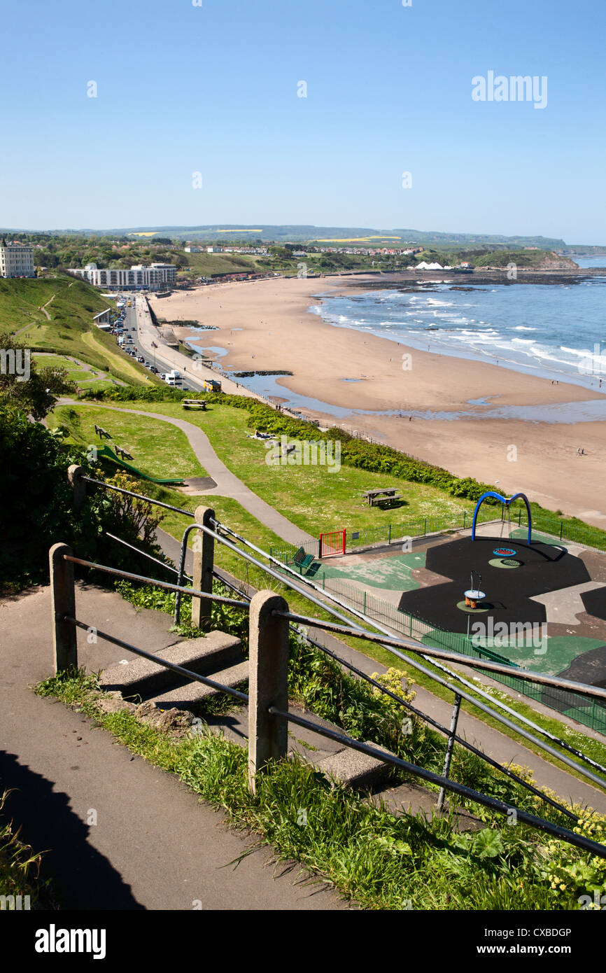 North Sands from Cliff Steps, Scarborough, North Yorkshire, Yorkshire, England, United Kingdom, Europe - Stock Image